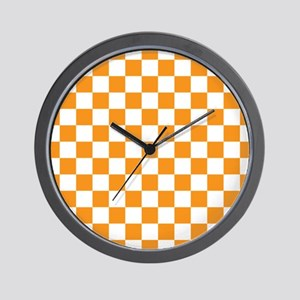 ORANGE AND WHITE Checkered Pattern Wall Clock