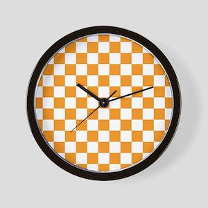 ORANGE AND WHITE Checkered Pattern Wall Clock