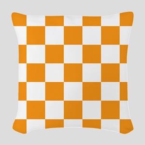 ORANGE AND WHITE Checkered Pattern Woven Throw Pil
