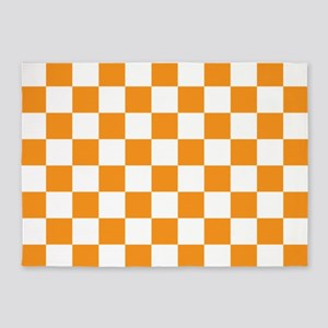 ORANGE AND WHITE Checkered Pattern 5'x7'Area Rug