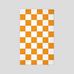 ORANGE AND WHITE Checkered Pattern 3'x5' Area Rug