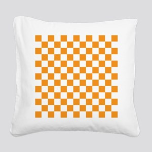 ORANGE AND WHITE Checkered Pattern Square Canvas P