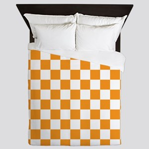 ORANGE AND WHITE Checkered Pattern Queen Duvet