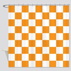 ORANGE AND WHITE Checkered Pattern Shower Curtain