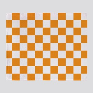 ORANGE AND WHITE Checkered Pattern Throw Blanket