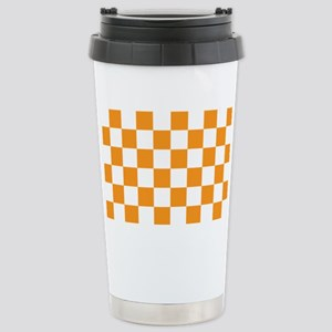 ORANGE AND WHITE Checkered Pattern Travel Mug