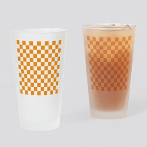 ORANGE AND WHITE Checkered Pattern Drinking Glass