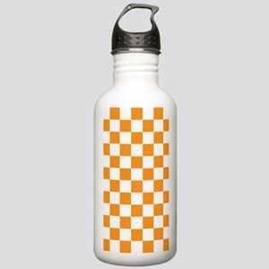 ORANGE AND WHITE Checkered Pattern Water Bottle