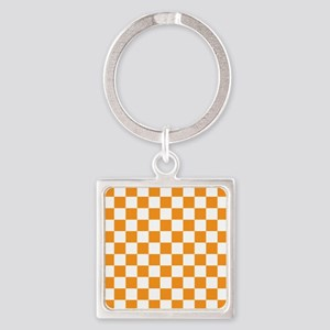 ORANGE AND WHITE Checkered Pattern Keychains