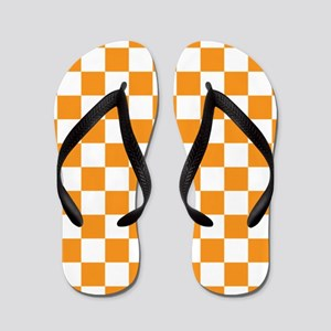 ORANGE AND WHITE Checkered Pattern Flip Flops