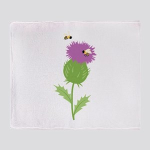 Thistle Bees Throw Blanket
