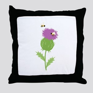 Thistle Bees Throw Pillow