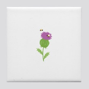Thistle Bees Tile Coaster