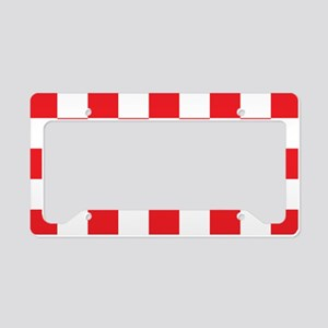 RED AND WHITE Checkered Pattern License Plate Hold