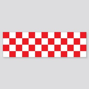 RED AND WHITE Checkered Pattern Bumper Sticker