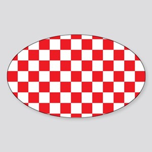RED AND WHITE Checkered Pattern Sticker