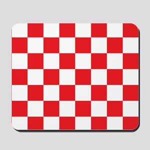 RED AND WHITE Checkered Pattern Mousepad