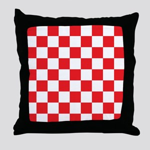 RED AND WHITE Checkered Pattern Throw Pillow