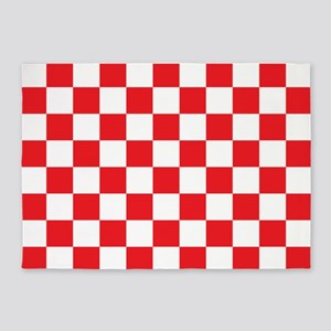 Red And White Checkered Pattern 5 X7 Area Rug