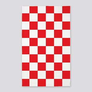 RED AND WHITE Checkered Pattern 3'x5' Area Rug