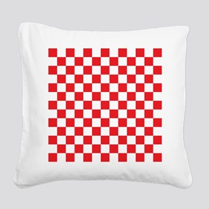 RED AND WHITE Checkered Pattern Square Canvas Pill