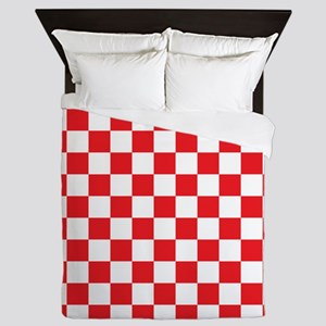 RED AND WHITE Checkered Pattern Queen Duvet