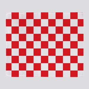 RED AND WHITE Checkered Pattern Throw Blanket
