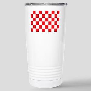 RED AND WHITE Checkered Pattern Travel Mug