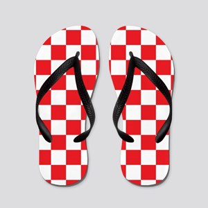 RED AND WHITE Checkered Pattern Flip Flops