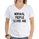 Normal People Scare Me Humo Women's V-Neck T-Shirt