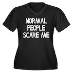 Normal Peopl Women's Plus Size V-Neck Dark T-Shirt
