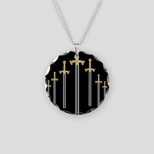 templar sword Necklace Circle Charm