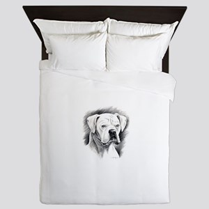 Beautiful White Boxer Queen Duvet