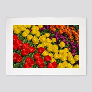 Colorful spring tulips in rows 5'x7'Area Rug