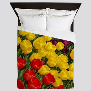 Colorful spring tulips in rows Queen Duvet