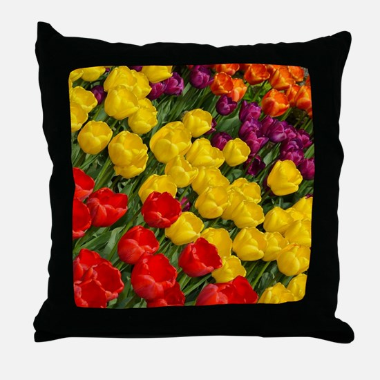Colorful spring tulips in rows Throw Pillow