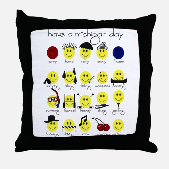 Michigan Smiley Throw Pillow