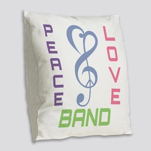 Peace Love Band Burlap Throw Pillow