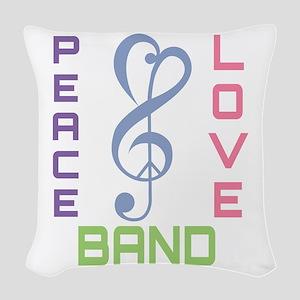 Peace Love Band Woven Throw Pillow