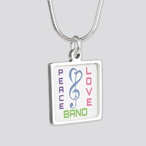 Peace Love Band Silver Square Necklace