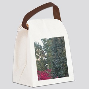 Peak-A-Boo Red Leaves Canvas Lunch Bag