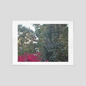 Peak-A-Boo Red Leaves 5'x7'Area Rug