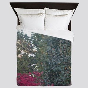 Peak-A-Boo Red Leaves Queen Duvet