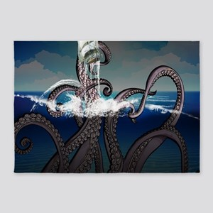 Kraken Attacks Ship at Sea 5'x7'Area Rug