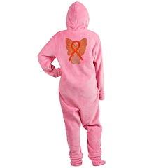 Orange Ribbon Angel Footed Pajamas