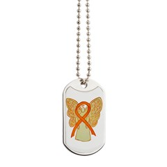Orange Ribbon Angel Dog Tags