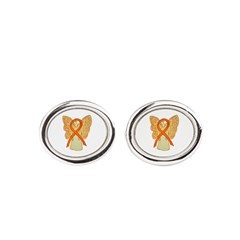 Orange Ribbon Angel Oval Cufflinks