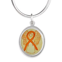 Orange Ribbon Angel Necklaces