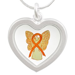 Orange Ribbon Angel Necklaces