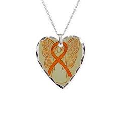 Orange Ribbon Angel Necklace